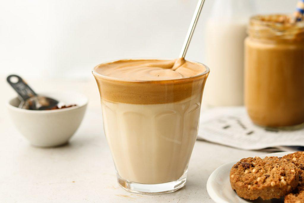 café, lait, gâteau, pause, goûter, verre, paille